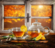 Autumn still life with tea cup on wooden planks Royalty Free Stock Images
