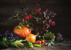 Autumn still life with vegetables and bouquet of viburnum in rustic style. Autumn still life with vegetables and viburnum on wooden table in rustic style Royalty Free Stock Photography