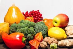 Autumn still life. vegetables and fruits. Autumn vegetables and fruits on wooden table Royalty Free Stock Photography