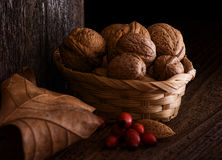 Autumn Still Life with Walnut, Leaf and Rosehip. Wooden Background, and braided Basket royalty free stock images