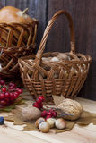 Autumn still life with walnuts and hazelnuts in the basket and autumn berry and vegetables on old wooden background, closeup Royalty Free Stock Photos