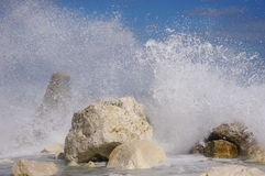 Autumn storm on breakwater in port Varna, Bulgaria Royalty Free Stock Photography