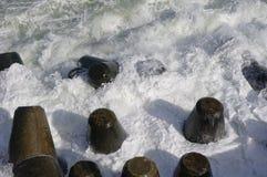 Autumn storm on breakwater in port Varna, Bulgaria Stock Images