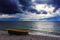 Autumn. Storm clouds over the sea Stock Photo