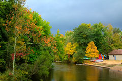Autumn Storm Coming. Storm Clouds Rolling in over Autumn Scene Royalty Free Stock Photography