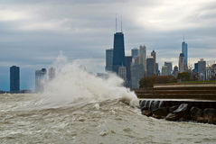 Autumn storm on Michigan, Chicago, Illinois. Huge waves Michigan on the background  city, Chicago, Illinois Royalty Free Stock Photo
