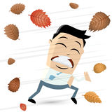 Autumn storm wind clipart. Clipart of a man in autumn storm Royalty Free Stock Images