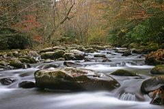 Autumn Stream in the Smokies. Scenic autumn stream in the Great Smoky Mountains.  Shot at low shutter speed for silky effect Royalty Free Stock Photo