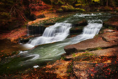 Autumn Stream With Water Cascade Arkivfoto