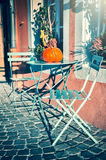 Autumn street decoration with colorful pumpkin Royalty Free Stock Images