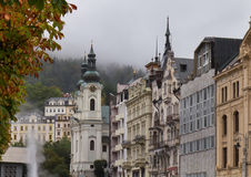 Autumn street in Karlovy Vary Karlsbad, Czech Republic. Royalty Free Stock Photos