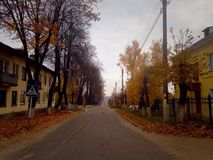 Autumn street. In Russia Royalty Free Stock Image