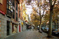 Autumn street scene in Madrid Stock Images