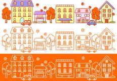 Autumn streets. This is an illustration of the streets of Fall Stock Image