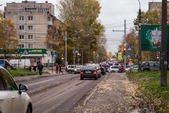 Autumn streets of the city. Russia, the Northern city, Arkhangelsk, royalty free stock photo