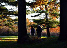 Autumn stroll. Couple walking or hiking in a park stock photography