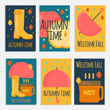 Autumn stuff  banners in flat style Stock Photos