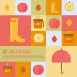 Autumn stuff  icons in flat style. Stock Photos