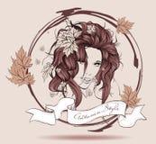 Elegant autumn girl. Vector illustration. Autumn style. Elegant autumn girl. Vector illustration Stock Photos