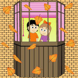 Autumn style. Leaf fall. Vector graphics. Autumn style. Leaf fall. Romantic evening. Vector graphics Stock Photography