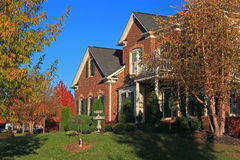 Autumn Suburban House Stock Photography