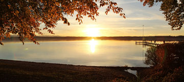 Autumn summer evening at lake starnberg Stock Images