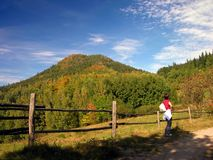 Autumn, summer hill Landscape. Autumn summer hill Landscape, colourful Royalty Free Stock Photography