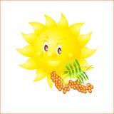 Autumn Sun Sun e cinza de montanha vermelha ilustração do vetor