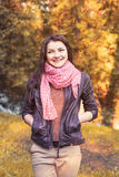 Autumn sun woman Stock Photos