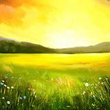 Autumn sundown landscape painting Stock Photography