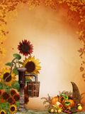 Autumn sunflowers with cornucopia Stock Photos