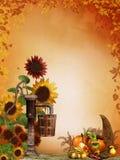 Autumn sunflowers with cornucopia Stock Photos