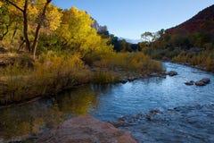 Autumn Sunlight en el río de la Virgen imagen de archivo libre de regalías