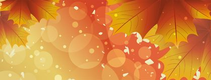 Autumn sunny background. Sunny background with autumn leaves. Vector illustration Royalty Free Stock Photography