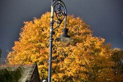 Autumn on sunny day ,park , lamppost , roof top , heavy clouds. Royalty Free Stock Photography