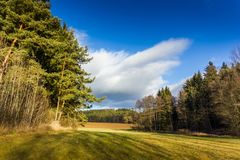 Autumn sunny landscape in windy weather. Czech Republic royalty free stock photos