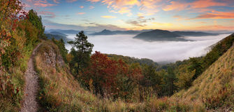 Autumn sunrise above mist and forest landscape, Slovakia, Nosice Royalty Free Stock Photography