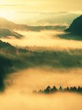 Autumn sunrise. Beautiful mountain of Bohemia. Treetops and peaks of hills increased from yellow and orange fog striped due to str Royalty Free Stock Photos