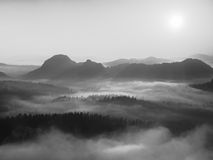 Autumn sunrise in a beautiful mountain within inversion. Peaks of hills increased from foggy background. Black and white photo. Stock Images