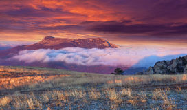 Autumn sunrise in the Crimea. Chatyrdag Stock Photo