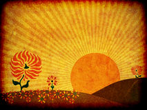 Autumn Sunrise Illustration. Illustration of a large sun rising behind the hills of an autumn meadow stock illustration