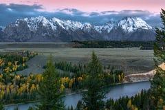 Autumn Sunrise le long de la rivière Snake Photo stock