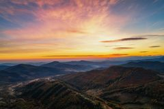 Autumn sunrise in the Mountains. Aerial view Royalty Free Stock Images
