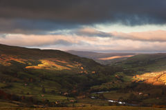 Autumn sunrise over Swaledale and Gunnerside in Yorkshire Dales Royalty Free Stock Photo