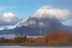 Autumn Sunrise at Oxbow Bend. A scenic autumn landscape at oxbow bend in Grand Teton National Park at sunrise Stock Images