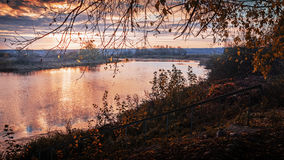 Autumn sunrise on the river 2. Autumn sunrise on the river in October day Stock Image