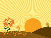 Autumn Sunrise Vector Illustration. Vector Illustration of a large sun rising behind the hills of an autumn meadow royalty free illustration