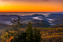 Autumn sunrise view from Beacon Heights, on the Blue Ridge Parkw Royalty Free Stock Photography
