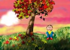 Autumn Sunset. End of an Autumn day stock illustration