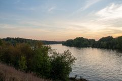 Beautiful river embankment in Moscow city on a sunset royalty free stock photography